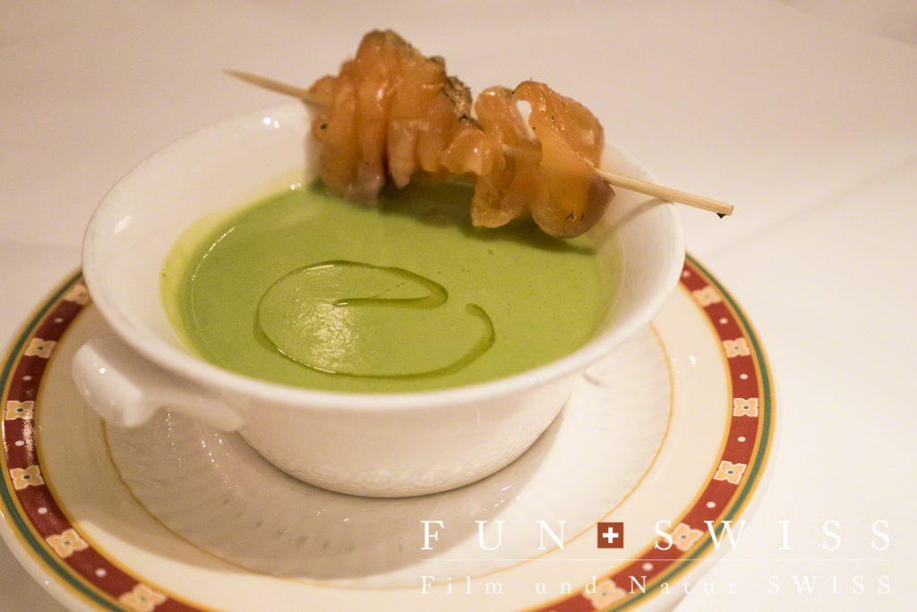 わさびをアクセントにきかせたグリーンピースのスープ