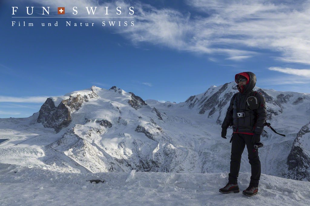スイス最高峰のモンテローザ3,634mを背景に。