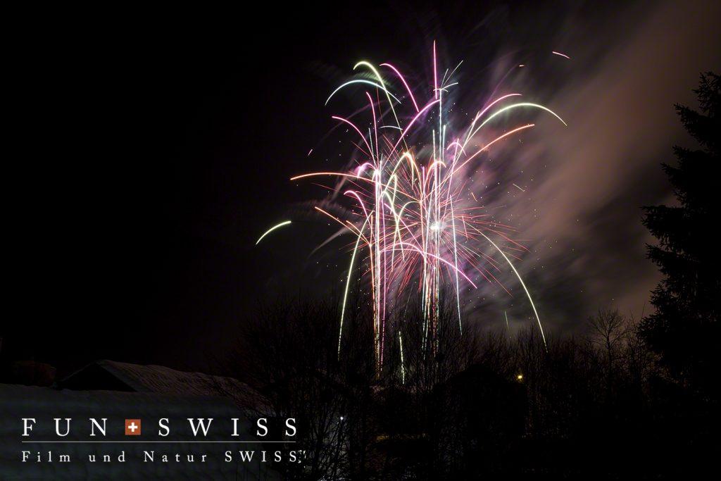 広いシャモニーの谷では3,4か所で新年を迎える花火が上がりました!
