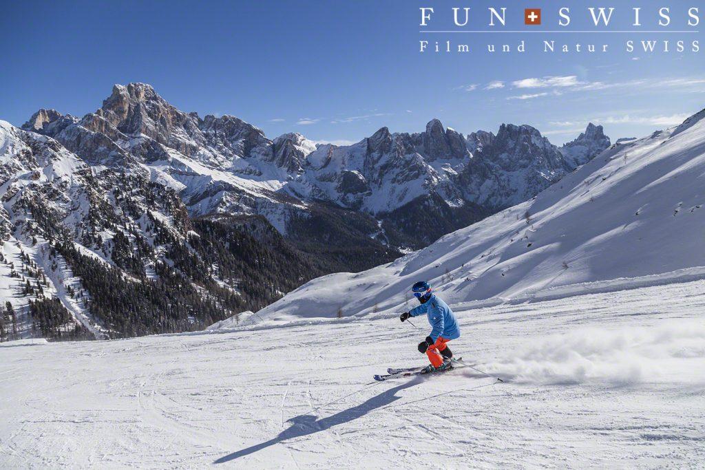 サンマルティーノ山群に向かって滑るバーンは最高!!!