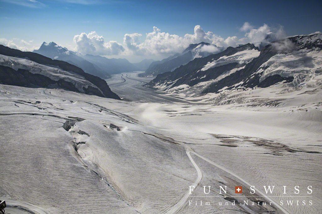 ユングフラウヨッホから臨むアレッチ氷河